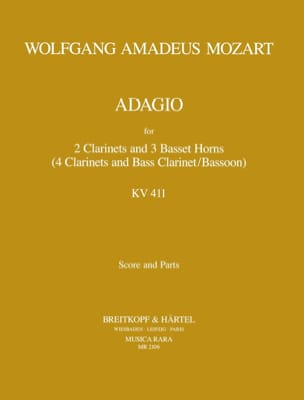 MOZART - Adagio, Kv 484a 411 - 2 Clarinets-3 Basset Horns - Sheet Music - di-arezzo.co.uk