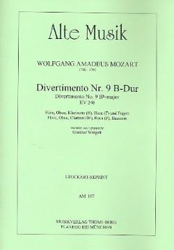 MOZART - Divertimento Nr. 9 B-Dur KV 240 - Bläserquintett - Stimmen - Partition - di-arezzo.co.uk