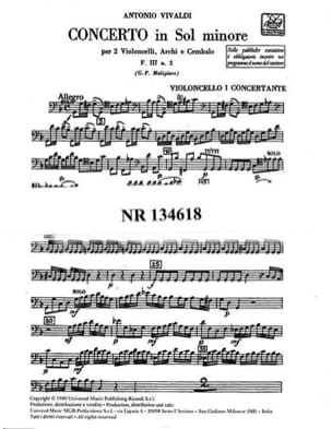 VIVALDI - Concerto in min. - F. 3 n ° 2 - Set materiale - Partitura - di-arezzo.it