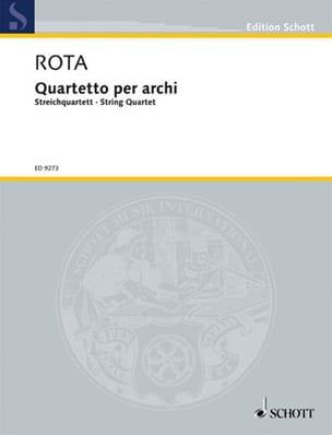 Nino Rota - Quartetto per archi -Partitur + Stimmen - Partition - di-arezzo.fr