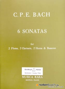 Carl Philipp Emanuel Bach - 6 Sonatas - 2 Flutes-2 Clarinets-2 Horns-Bassoon - Sheet Music - di-arezzo.co.uk