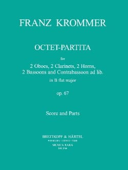 Octet-Partita B-flat major op. 67 - Score + parts KROMMER laflutedepan