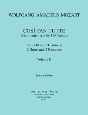 MOZART - Cosi Fan Tutte Volume 2 - Harmoniemusik - Score + parts - Partition - di-arezzo.fr