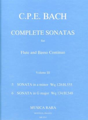 Carl Philipp Emanuel Bach - Complete sonatas (Volume 3) – Flute Bc - Partition - di-arezzo.fr