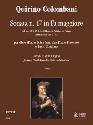 Quirino Colombani - Sonata in fa maggiore –Oboe e Bc - Partition - di-arezzo.fr