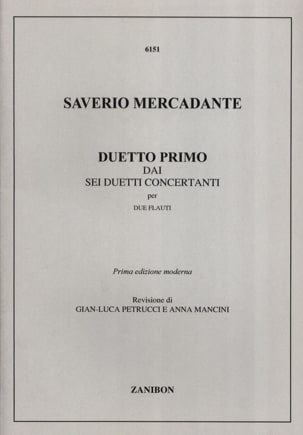 Duetto Primo - 2 Flauti Saverio Mercadante Partition laflutedepan