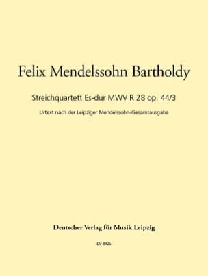 Bartholdy Felix Mendelssohn - Streichquartett Es-Dur op. 44 n° 3 –Stimmen - Partition - di-arezzo.fr