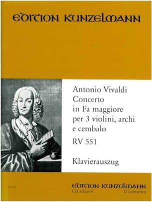 Antonio Vivaldi - Concerto fa maggiore RV 551 –3 Violinen Klavier - Partition - di-arezzo.fr