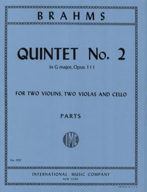Quintet n° 2 in G major op. 111 - Parts BRAHMS Partition laflutedepan