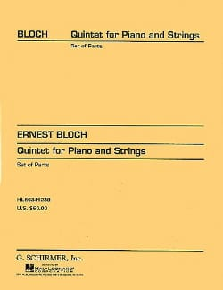 Ernest Bloch - Quintet piano and strings n° 1 - parts - Partition - di-arezzo.fr