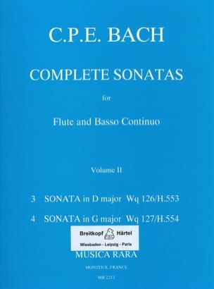 Carl Philipp Emanuel Bach - Complete sonatas Volume 2 -Flute Bc - Partition - di-arezzo.fr