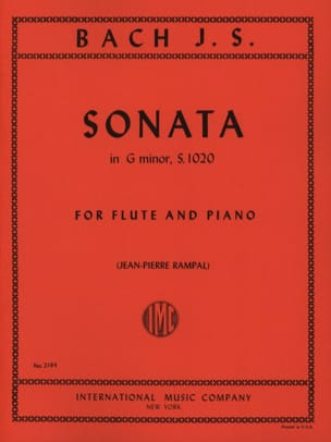 Sonate Sol mineur BWV 1020 - flûte piano BACH Partition laflutedepan