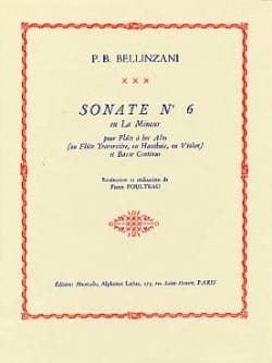 Paolo Benedetto Bellinzani - Sonata No. 6 in A minor - Alto Recorder - Sheet Music - di-arezzo.com