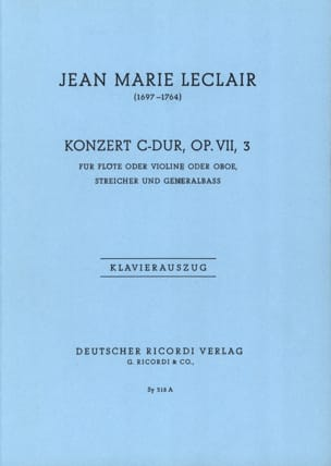 Jean-Marie Leclair - Concerto Do Majeur, Op. 7 N°3 - Partition - di-arezzo.fr
