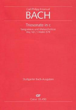 Carl Philipp Emanuel Bach - Triosonate in c-moll Wq 161/1 –Stimmen + Partitur - Partition - di-arezzo.fr