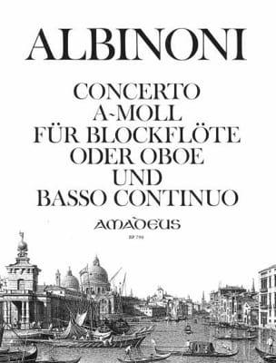 Tomaso Albinoni - Concerto a-moll - Blockflöte o. Oboe u. Bc - Partition - di-arezzo.fr
