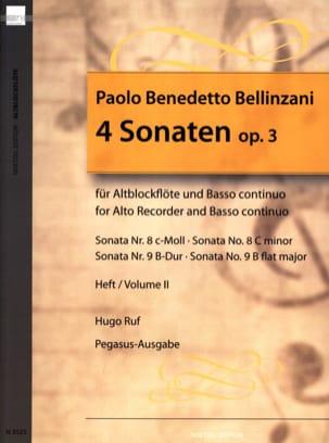 Paolo Benedetto Bellinzani - 4 Sonaten op. 3 - Heft 2 – Altblockflöte u. BC - Partition - di-arezzo.fr