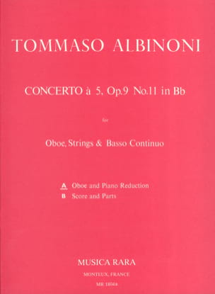 Concerto a 5 op. 9 n° 11 - Oboe piano ALBINONI Partition laflutedepan