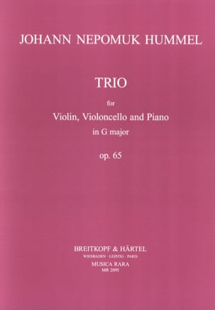 Johann Nepomuk Hummel - Trio op. 65 in G – Parts - Partition - di-arezzo.fr