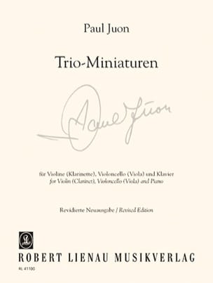 Paul Juon - Trio - Miniatures Op. 18 N° 3, 6, 7 et Op. 24 N° 2 - Partition - di-arezzo.fr