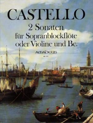 Dario Castello - 2 Sonaten - Sopranblockflöte o. Violine u. Bc - Partition - di-arezzo.fr