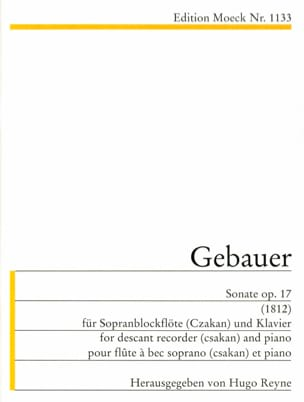 Michel Joseph Gebauer - Sonate op. 17 1812 - Sopranblockflöte Klavier - Noten - di-arezzo.de