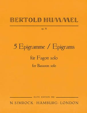 5 Epigramme op. 51 -Fagott solo - Bertold Hummel - laflutedepan.com