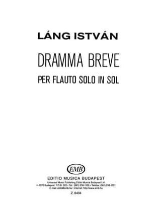 Istvan Lang - Dramma breve - Flauto solo in sol - Partition - di-arezzo.fr