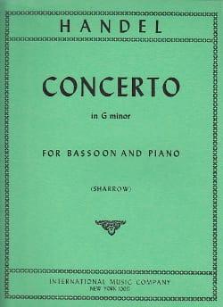 Georg Friedrich Haendel - Concerto in G minor -Bassoon piano - Partition - di-arezzo.fr