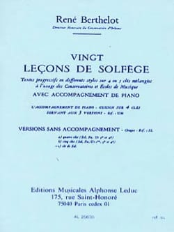 René Berthelot - 20 Lecons solfège - treble clef, without acc. - Sheet Music - di-arezzo.co.uk