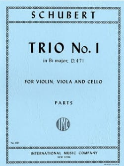 SCHUBERT - Trio n° 1 B flat major - Parts - Partition - di-arezzo.fr