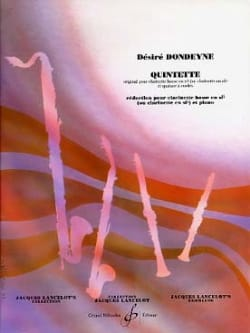 Désiré Dondeyne - Quintette pour clarinette basse – réd. piano - Partition - di-arezzo.fr