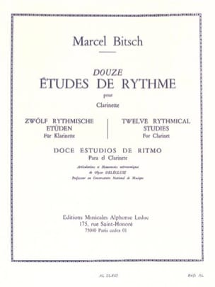 Marcel Bitsch - 12 Rhythm Studies - Clarinet - Sheet Music - di-arezzo.co.uk