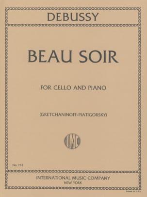 Beau Soir DEBUSSY Partition Violoncelle - laflutedepan