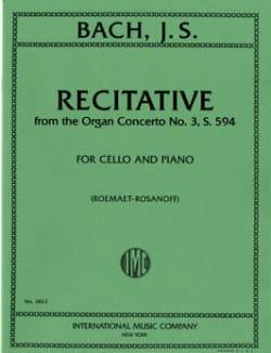 Récitative - BACH - Partition - Violoncelle - laflutedepan.com