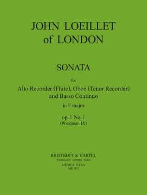 Jean-Baptiste (John) de Londres Loeillet - Sonata in f major op. 1 n° 1 – Treble recorder Oboe Bc - Partition - di-arezzo.fr