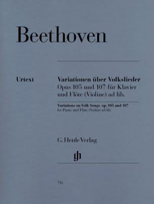 Ludwig Van Beethoven - Variations sur des Chants Populaires Op. 105 et 107 Pour Piano et Flute (Violon) - Partition - di-arezzo.fr