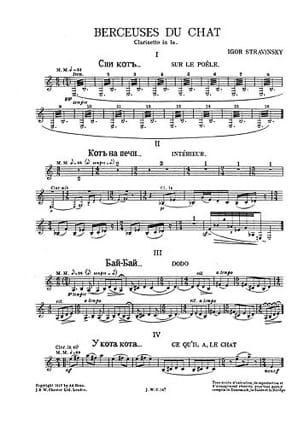 Berceuse Du Chat (Cl. Parts) - Igor Stravinsky - laflutedepan.com