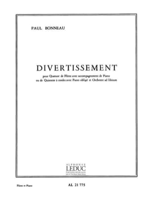 Divertissement - 4 Flûtes-Piano Paul Bonneau Partition laflutedepan