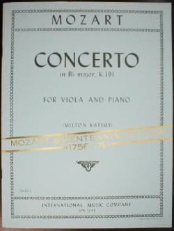 Wolfgang Amadeus Mozart - Concerto in B flat major KV 191 - Partition - di-arezzo.fr