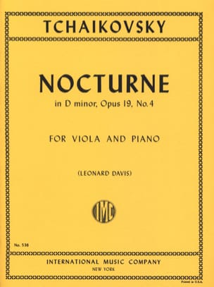 Nocturne in D minor, op. 19 n° 4 TCHAIKOVSKY Partition laflutedepan