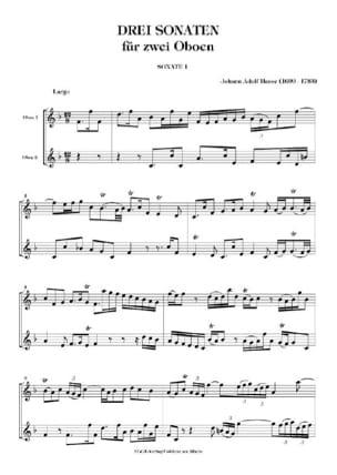 Johann Adolf Hasse - 3 Sonaten für 2 Oboen - Partition - di-arezzo.fr