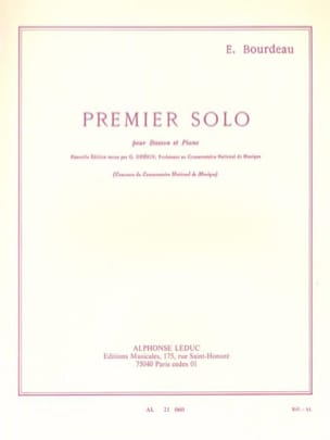 Eugène Bourdeau - First solo for bassoon and piano - Sheet Music - di-arezzo.co.uk