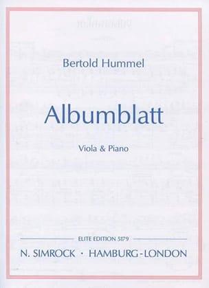 Bertold Hummel - Albumblatt - Partition - di-arezzo.fr