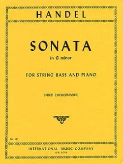Sonata in G minor HAENDEL Partition Contrebasse - laflutedepan