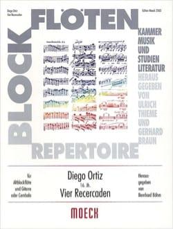 4 Recercaden - flûte à bec guitare Diego Ortiz Partition laflutedepan