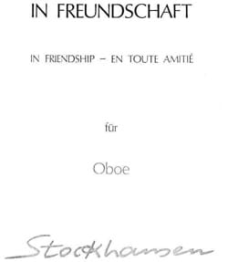 In Freundschaft - Oboe - STOCKHAUSEN - Partition - laflutedepan.com