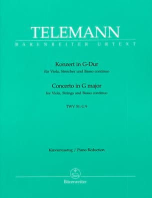 TELEMANN - Concerto in G Major TWV 51: G9 -Alto and Piano - Sheet Music - di-arezzo.com