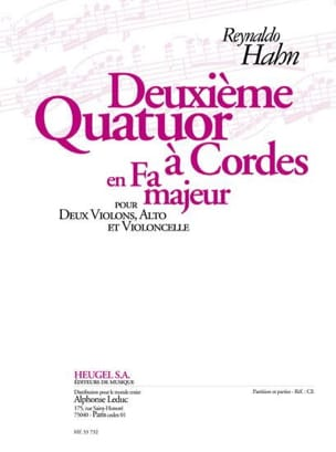 Quatuor à cordes n° 2 Reynaldo Hahn Partition Quatuors - laflutedepan
