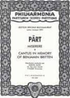Arvo Pärt - Cantus In Memory Of Benjamin Britten / Misere - Partition - di-arezzo.fr